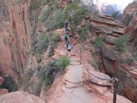 Climbing out onto the razorback